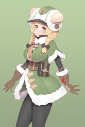 1girl, animal ears, belt, belt pouch, black legwear, blonde hair, blue eyes, braid, breasts, brown gloves, closed mouth, coat, cowboy shot, eyelashes, fur-trimmed coat, fur-trimmed gloves, fur trim, gloves, green background, grey coat, hat, highres, king's raid, large breasts, leather, leather gloves, light blush, long hair, looking at viewer, low twin braids, low twintails, pantyhose, pouch, rodina (king's raid), simple background, solo, twin braids, twintails, underbust, yu mochi (kamiinu)