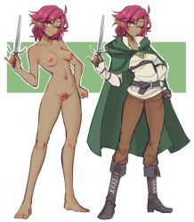 Rule 34 | 1girl, ahoge, barefoot, belt, blush, breasts, brown pants, cape, commentary, commission, completely nude, cross-laced footwear, dagger, english commentary, female pubic hair, fingerless gloves, fold-over boots, gloves, green cape, grey belt, grey footwear, grey gloves, hand on hip, head tilt, highres, holding, holding dagger, holding weapon, looking at viewer, medium breasts, medium hair, multiple views, navel, nipples, nude, one eye closed, original, pants, pink hair, pink pubic hair, pointy ears, popopoka, pubic hair, red eyes, shirt, smile, solo, weapon, white shirt