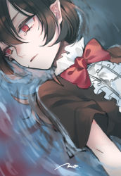 1girl, bangs, black dress, black hair, bow, bowtie, buttons, center frills, commentary request, dress, frilled dress, frills, highres, houjuu nue, looking to the side, lying on water, makita (vector1525), medium hair, pointy ears, red eyes, red neckwear, red wings, short sleeves, signature, solo, tears, touhou, upper body, water, wings