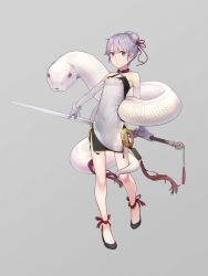1girl, bare shoulders, bracelet, commentary, criss-cross halter, double bun, dress, elbow gloves, expressionless, full body, gloves, grey background, halterneck, highres, holding, holding sword, holding weapon, jewelry, kuz, looking at viewer, purple eyes, purple gloves, purple hair, short hair, sleeveless, sleeveless dress, snake, solo, standing, sword, trigram, vocaloid, voiceroid, weapon, white dress, white snake, yuzuki yukari