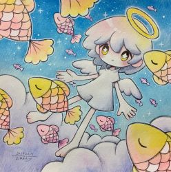 1girl, angel, angel wings, blue sky, blush, cloud, dated, fish, floating, glowing, halo, highres, original, signature, sky, solo, traditional media, white wings, wings, yellow eyes, zukky000
