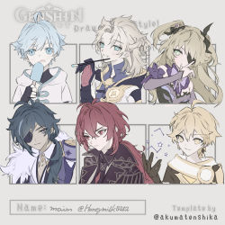 1girl, 5boys, :q, absurdres, aether (genshin impact), ahoge, albedo (genshin impact), aqua eyes, aqua hair, bangs, black gloves, blonde hair, blue hair, blush, bodysuit, bow, bowtie, breasts, chongyun (genshin impact), closed mouth, copyright name, diluc (genshin impact), eyepatch, fischl (genshin impact), food, genshin impact, gloves, green eyes, hair between eyes, hair ribbon, highres, holding, honeymilk0252, jacket, jewelry, kaeya (genshin impact), leotard, long hair, long sleeves, multicolored hair, multiple boys, paintbrush, ponytail, popsicle, red hair, ribbon, shirt, simple background, single earring, six fanarts challenge, streaked hair, tongue, tongue out, twitter username, two side up, upper body