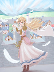 1girl, absurdres, armor, arms, artist request, bangs, belt, belted dress, bird, blonde hair, blue eyes, blush, boots, bracelet, building, cake, cake slice, cape, cape lift, castle, chimney, cloud, cloudy sky, day, diadem, dove, dress, earrings, eating, feathers, feet, feet together, female focus, fingernails, flying, food, forehead jewel, from behind, fruit, full body, gate, gem, hair lift, hand on mouth, hand on own face, happy, high heels, highres, house, jewelry, laughing, legs together, long dress, long hair, looking at viewer, lots of jewelry, medieval, medieval clothing, mountain, nature, neck, necklace, nintendo, open toe boots, outdoors, pointy ears, princess zelda, ruby (gemstone), sandals, short-sleeved dress, short sleeves, shoulder armor, shy, sidelocks, sky, smile, standing, stone floor, stone wall, strawberry, the legend of zelda, the legend of zelda: a link between worlds, tiara, toeless footwear, toes, town, tree, triforce, triforce earrings, tunic, wall, white cape, white dress, white tunic, wind, wind lift, wooden bench