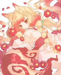1girl, animal ear fluff, animal ears, bangs, black gloves, blonde hair, brown eyes, character request, closed mouth, flower, fox ears, fox tail, gloves, gradient hair, hair ornament, hair pom pom, hibi89, holding, holding flower, japanese clothes, kimono, long hair, low twintails, merc storia, multicolored hair, obi, petals, red flower, sash, solo, tail, twintails, very long hair, wide sleeves