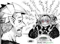 1boy, 1girl, :>, absurdres, anger vein, angry, black gloves, confused, demon boy, demon girl, demon horns, drake (mazohaha), facial hair, fork, gloves, gothic, gothic lolita, green bean, highres, horns, husband and wife, juugoya (zyugoya), limited palette, lolita fashion, musuko ga kawaikute shikatanai mazoku no hahaoya, nightmare (mazohaha), pointy ears, pointy nose, red eyes, shumai (food), sweat, sweatdrop, triangle mouth, veins, white horns