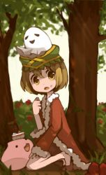 1girl, bangs, black footwear, black shorts, brown eyes, brown hair, bush, cake, cake slice, cherry, commentary request, day, eyebrows visible through hair, flower, food, fruit, full body, fur-trimmed jacket, fur trim, ghost, jacket, kawachi (hina), kneeling, looking at viewer, looking to the side, open mouth, outdoors, plant, poring, ragnarok online, red flower, red jacket, rogue (ragnarok online), shoes, short hair, short shorts, shorts, slime (creature), sunlight, tree, vines, whisper (ragnarok online)