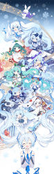 6+girls, :3, :d, :o, ;3, absurdres, ahoge, animal hat, anniversary, aqua eyes, aqua hair, arm up, bangs, bare shoulders, beamed eighth notes, beamed sixteenth notes, bell, bird hat, black footwear, black gloves, black legwear, black skirt, blue bow, blue dress, blue eyes, blue footwear, blue gloves, blue hair, blue jacket, blue neckwear, blue ribbon, blue skirt, blue sleeves, blunt bangs, blurry, bokeh, boots, bow, bow hairband, bowtie, branch, breast pocket, brooch, brown footwear, bubble skirt, bunny, buttons, cape, capelet, chibi, chinese knot, closed mouth, collared shirt, commentary request, constellation, crystal, daifuku, depth of field, detached collar, detached sleeves, diffraction spikes, dot mouth, dot nose, dress, earmuffs, earrings, eighth note, eyebrows visible through hair, eyes closed, facing viewer, fingerless gloves, flag, floating hair, flower, food, frilled dress, frills, fringe trim, fur-trimmed boots, fur-trimmed capelet, fur-trimmed jacket, fur-trimmed sleeves, fur trim, gloves, goggles, goggles on head, goggles on headwear, gold trim, gradient hair, green eyes, green hair, grey sleeves, ground vehicle, hair between eyes, hair bow, hair flower, hair ornament, hair ribbon, hairband, hairclip, hands together, hat, hat bow, hatsune miku, headset, high heel boots, high heels, highres, hip strap, holding, holding instrument, holding wand, hood, hood up, ichigo daifuku, instrument, jacket, japanese clothes, jewelry, jingle bell, juliet sleeves, kagura suzu, kimono, leaf, leaf on head, leg garter, leg ribbon, leg up, legs up, light blue hair, long hair, long sleeves, looking at viewer, magic circle, microphone, miniskirt, mittens, multicolored hair, multiple girls, musical note, musical note hair ornament, musical note print, neck ribbon, necktie, nishina hima, off-shoulder dress, off shoulder, okobo, one eye closed, open mouth, orb, origami, outline, outstretched arm, outstretched arms, owl hat, own hands together, pantyhose, paper crane, patterned 