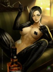 Rule 34 | 1girl, adam jensen, alcohol, amputee, armpits, bandage, black hair, bottle, breasts, cigarette, convenient censoring, couch, cyberpunk, cyborg, deus ex, deus ex: human revolution, covered erect nipples, furniture, genderswap, genderswap (mtf), glass, holding, holding cigarette, injury, looking at viewer, lying, medium breasts, nextoad, patreon username, prosthesis, prosthetic arm, prosthetic leg, science fiction, short hair, smoke, solo, spread legs, toned, tongue, tongue out, watermark, wine, yellow eyes