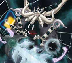 absurdres, commentary request, demon horns, disembodied limb, energy ball, glowing, gomikerasu, highres, holding, holding sword, holding weapon, horns, kirby's return to dream land, kirby (series), magolor, magolor soul, master crown, nintendo, no humans, pop star, portal (object), red eyes, solo, spoilers, sword, third eye, weapon, white eyes, wings
