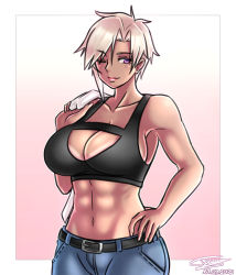 1girl, abs, absurdres, ayra (taiyudraws), belt, black sports bra, breasts, cleavage, commentary, cowboy shot, dark skin, dark skinned female, dated, english commentary, gradient, gradient background, hand on hip, hand up, highres, large breasts, navel, one eye closed, original, pink background, platinum blonde hair, short hair, signature, solo, sports bra, taiyudraws