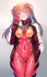 1girl, absurdres, bodysuit, breasts, covered navel, hairpods, hands in pockets, highres, interface headset, jacket, long hair, long sleeves, medium breasts, multicolored, multicolored bodysuit, multicolored clothes, neon genesis evangelion, open clothes, open jacket, orange bodysuit, orange hair, pilot suit, plugsuit, purple eyes, red bodysuit, red jacket, silly (marinkomoe), solo, soryu asuka langley, standing, track jacket, two side up