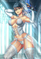 Rule 34 | 1girl, artist name, bare shoulders, bayonetta, bayonetta (character), bayonetta 2, black hair, breasts, breasts apart, bride, collarbone, elbow gloves, feet out of frame, garter belt, glasses, gloves, gun, holding, holding gun, holding weapon, indoors, large breasts, lingerie, lipstick, makeup, mole, navel, panties, patreon username, redjet, short hair, solo, thighhighs, underwear, veil, weapon, wedding, white gloves, white panties