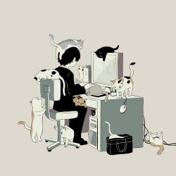 1boy, animal, animal focus, animal on head, animal on lap, at computer, avogado6, bag, black cat, calico, cat, cat on head, cat on lap, chair, computer, cpu, desk, desktop, facing away, formal, from side, grey background, indoors, keyboard (computer), long sleeves, looking at screen, male focus, monitor, mouse (computer), muted color, office chair, on head, original, pants, simple background, sitting, suit, too many, too many cats