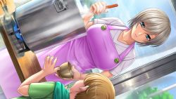 1boy, 1girl, action taimanin, aikawa arisa, apron, blue eyes, breasts, casual, game cg, kitchen, laetitia bellmer, large breasts, lilith-soft, looking at another, short hair, size difference, sky, small breasts, table, taimanin (series), taimanin asagi, white hair