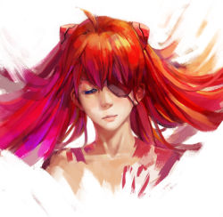 1girl, artist request, evangelion: 3.0 you can (not) redo, eyes closed, long hair, looking at viewer, neon genesis evangelion, nude, rebuild of evangelion, shiny, shiny hair, simple background, solo, soryu asuka langley, twintails, very long hair, white background