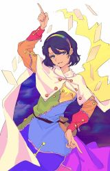 1girl, arm up, cape, commentary request, cowboy shot, dress, grin, hairband, highres, looking at viewer, multicolored, multicolored clothes, multicolored dress, pointing, pointing down, pointing up, purple eyes, purple hair, rainbow gradient, ringo orihara, short hair, simple background, smile, solo, tenkyuu chimata, touhou, white background, white cape