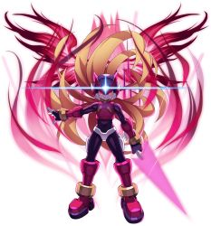 1boy, android, armor, aura, blonde hair, bodysuit, boss, energy blade, energy sword, evil, evil eyes, evil grin, evil smile, floating hair, forehead jewel, gem, gloves, glowing, grin, hair flowing over, helmet, highres, holding, holding sword, holding weapon, long hair, looking at viewer, male focus, mizuno keisuke, official art, omega (mega man), red eyes, robot, mega man (series), rockman x dive, mega man zero, smile, solo, sword, third-party source, transparent background, very long hair, weapon