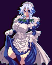 1girl, apron, bangs, black background, black legwear, blue eyes, blue hair, bow, braid, breasts, closed mouth, dress, dress lift, eyebrows visible through hair, gloves, green bow, green neckwear, hair between eyes, hair bow, izayoi sakuya, kneehighs, knife, large breasts, lifted by self, long sleeves, looking to the side, machi, maid, maid headdress, one-hour drawing challenge, petticoat, pixel art, side braids, simple background, solo, standing, standing on one leg, touhou, twin braids, white apron, white gloves