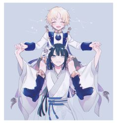 1boy, 1girl, bangs, black hair, black legwear, blonde hair, carrying over shoulder, eyebrows visible through hair, eyes closed, fate/grand order, fate (series), flower, grey background, grey eyes, hair flower, hair ornament, japanese clothes, jing ke (fate), kanitama (putyourhead), kimono, long hair, long sleeves, looking at another, looking up, parted lips, sash, shirt, shorts, smile, voyager (fate), white flower, white kimono, white shirt, white shorts, wide sleeves