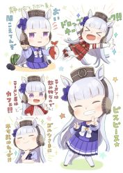 1girl, = =, ^ ^, animal ears, bangs, bare shoulders, blush, boots, bow, brown headwear, chibi, closed eyes, closed mouth, commentary request, doughnut, dress, eyebrows visible through hair, eyes closed, facing viewer, fish, food, fruit, gloves, gold ship, grin, hair bow, hat, highres, holding, holding food, horse ears, horse girl, horse tail, index finger raised, jacket, knee boots, long hair, long sleeves, looking at viewer, multiple views, open clothes, open jacket, pantyhose, pleated skirt, purple bow, purple eyes, purple sailor collar, purple shirt, purple skirt, red dress, red jacket, sailor collar, shirt, silver hair, skirt, sleeveless, sleeveless dress, sleeves past wrists, smile, tail, totatokeke, translation request, umamusume, v, v-shaped eyebrows, very long hair, watermelon, white background, white bow, white footwear, white gloves, white legwear, white shirt