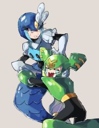 1boy, 1girl, = =, annoyed, arm up, armor, beige background, black bodysuit, blue eyes, blue headwear, bodysuit, boots, breastplate, chikichi, clenched teeth, crying, elbow gloves, forehead jewel, from behind, gem, gloves, green footwear, green headwear, helmet, highres, jpeg artifacts, knee boots, kneeling, leaning forward, mermaid, monster girl, open mouth, outstretched arm, puffy short sleeves, puffy sleeves, rockman, rockman 9, sad, shiny, shiny clothes, shirt, short sleeves, simple background, splash woman, sweat, tears, teeth, tornadoman, vambraces, wavy mouth, white gloves, white shirt