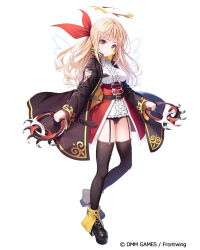 1girl, bangs, black footwear, black jacket, black legwear, black panties, blonde hair, breasts, brown eyes, center frills, character request, closed mouth, collared shirt, commentary request, dennou tenshi jibril, eyebrows visible through hair, frills, full body, garter straps, hair ribbon, halo, holding, jacket, kine-c, long hair, long sleeves, looking at viewer, medium breasts, official art, open clothes, open jacket, panties, platform footwear, platform heels, red ribbon, ribbon, shirt, shoes, simple background, sleeves past wrists, smile, solo, standing, standing on one leg, thighhighs, underwear, very long hair, watermark, white background, white shirt, wide sleeves
