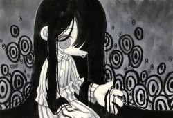 1girl, abstract background, bangs, black hair, blunt bangs, closed mouth, crying, dated, feet out of frame, grey eyes, greyscale, hair over one eye, highres, long hair, long sleeves, monochrome, original, pants, shirt, signature, solo, spiral eyes, striped, striped pants, striped shirt, tears, very long hair, zukky000