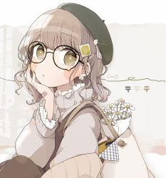 1girl, arm up, bag, bandaid, bandaid on hand, bangs, beret, book, bouquet, brown background, brown bag, brown coat, brown hair, brown pants, brown shirt, chon (chon33v), coat, collar, commentary request, daisy, earrings, eyebrows visible through hair, flower, frilled collar, frilled sleeves, frills, glasses, green headwear, hair ornament, hand on own cheek, hand on own face, hat, high collar, highres, jewelry, long sleeves, looking at viewer, multiple earrings, nail polish, original, pants, round eyewear, shirt, short hair, signature, solo, sparkling eyes, stamp, upper body, wavy hair, white shirt, yellow eyes, yellow nails