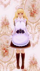 blonde hair, boots, breasts, danisaru036, gyaru, highres, kogal, large breasts, maid, twintails
