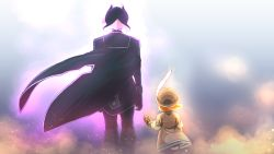 2girls, black cape, black clothes, black gloves, black hair, black jacket, black pants, blonde hair, blurry, blurry background, brown headwear, brown jacket, cape, commentary request, from behind, gloves, hat, hat feather, height difference, jacket, long sleeves, lyza, made in abyss, multicolored hair, multiple girls, ozen, pants, short hair, squarevr, standing, two-tone hair, white hair