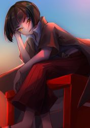 1girl, adjusting hair, arm on knee, bangs, bellbottoms, black hair, blue background, blunt bangs, bob cut, brown jacket, crop top, furrowed eyebrows, gradient, gradient background, grey shirt, hand on own head, highres, jacket, kagenui yozuru, looking at viewer, midriff, monogatari (series), multicolored hair, myuga66666, naughty face, open clothes, open jacket, open mouth, orange background, pants, parted lips, popped collar, postbox (outgoing mail), red hair, red pants, shirt, short hair, sitting, smile, smirk, solo, streaked hair, striped, striped pants, sunset, suspenders, two-tone hair, white shirt, yellow eyes