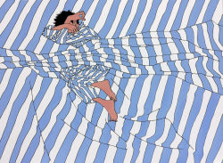 1boy, 9bmmnn, barefoot, bed sheet, black hair, blue stripes, covering face, flat color, full body, highres, ligne claire, limited palette, long sleeves, lying, male focus, on side, original, pajamas, short hair, solo, striped, white stripes
