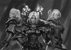 3girls, adepta sororitas, armor, boobplate, breastplate, breasts, cross, facial mark, fleur de lis, folded ponytail, greyscale, hand on hip, highres, holding, holding sword, holding weapon, imperium of man, licking lips, looking at viewer, medium breasts, medium hair, monochrome, multiple girls, naughty face, pauldrons, power armor, short hair, shoulder armor, sister of battle, standing, sword, tongue, tongue out, warhammer 40k, weapon, white hair, yangzheyy