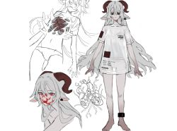 1girl, animal ears, anklet, barefoot, blood, blood on face, closed mouth, collarbone, ear tag, english text, goat ears, goat girl, goat horns, grey hair, hair between eyes, heart (organ), highres, horns, jewelry, long hair, navel, original, panties, populamalus, red eyes, red horns, see-through, simple background, sketch, underwear, white background, white panties