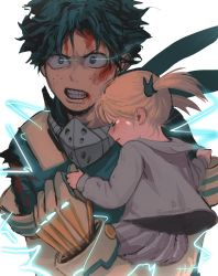 1boy, 1girl, artist name, bangs, blood, blood on face, blush, bodysuit, boku no hero academia, clenched teeth, closed mouth, elbow gloves, energy, freckles, gloves, glowing, glowing eyes, green eyes, grey jacket, grey skirt, hair ornament, holding, holding another, hood, injury, jacket, long sleeves, looking at viewer, mask, midoriya izuku, mouth mask, pleated skirt, short hair, simple background, skirt, symbol commentary, tears, teeth, torn clothes, twintails, upper body, wengwengchim, white background, white gloves