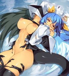 Rule 34 | 1girl, areolae, arm up, artist name, asymmetrical wings, bangs, bare shoulders, belt, black legwear, blue hair, breasts, detached sleeves, dizzy (guilty gear), fingernails, guilty gear, guilty gear xx, hair between eyes, hair ribbon, highres, large breasts, long hair, long sleeves, looking to the side, lying, nail polish, navel, nipples, on back, optionaltypo, partially submerged, puffy long sleeves, puffy sleeves, red eyes, ribbon, ripples, solo, stomach, tail, thick thighs, thighhighs, thighs, torn clothes, torn legwear, twintails, water, wet, wings, yellow ribbon