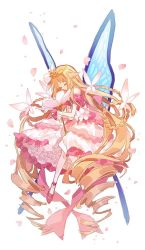 1girl, absurdly long hair, bangs, blonde hair, braid, butterfly wings, dress, drill hair, eyebrows visible through hair, eyes closed, flower, frilled dress, frills, full body, gloves, hibi89, holding, holding flower, layered dress, long hair, merc storia, off-shoulder dress, off shoulder, pantyhose, petals, pink footwear, solo, tiara, twin braids, twin drills, very long hair, white dress, white gloves, white legwear, wings