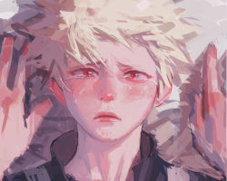 1boy, absurdres, bakugou katsuki, bangs, blonde hair, boku no hero academia, close-up, closed mouth, crying, crying with eyes open, face, frown, highres, lips, looking at viewer, male focus, messy hair, parted lips, portrait, red eyes, short hair, slit pupils, solo focus, tears, upper body, wengwengchim, white hair