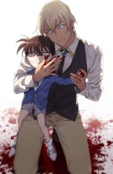 2boys, amuro tooru, bangs, black-framed eyewear, black vest, blazer, blonde hair, blood, blood on face, blood splatter, bloody clothes, bloody hands, blue jacket, blurry, brooch, brown hair, brown pants, buttons, child, closed mouth, collared shirt, commentary request, depth of field, edogawa conan, eyes closed, fingernails, glasses, grey background, grey shorts, hair between eyes, hand holding, hand up, height difference, jacket, jewelry, k (gear labo), kneeling, long sleeves, looking at another, male focus, meitantei conan, multiple boys, pants, parted lips, pool of blood, red footwear, shirt, shoes, short hair, shorts, smile, sneakers, socks, vest, white legwear, white shirt