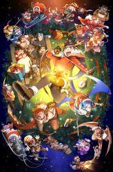 > <, 6+boys, 6+girls, :3, :d, :p, absurdres, agyo (tokyo houkago summoners), aizen (tokyo houkago summoners), alternate costume, american football uniform, animal ears, antlers, arm around shoulder, arsalan (tokyo houkago summoners), ashigara (tokyo houkago summoners), bare pecs, bear boy, bear ears, beard, black bodysuit, blonde hair, blush, bodysuit, box, breath, brown eyes, brown fur, brown hair, chains, character request, christmas, claude (tokyo houkago summoners), couple, cow boy, cow ears, cow horns, dark skin, dark skinned male, ded (tokyo houkago summoners), deer boy, deer ears, dog boy, dog ears, dog tail, dragon boy, dragon girl, dragon horns, dragon wings, durga (tokyo houkago summoners), facial hair, fake animal ears, feathered wings, fiery hair, fiery horns, fiery wings, floating, flying, forked eyebrows, formal, fox boy, fox ears, full body, furry, gabriel (tokyo houkago summoners), gamr (tokyo houkago summoners), gift, gift bag, gift box, glowing horns, goat boy, goat ears, goat horns, green hair, green shirt, gunzo (tokyo houkago summoners), halloween, halloween costume, hat, heart, highres, horkeu kamui (tokyo houkago summoners), horns, kengo (tokyo houkago summoners), kyuma (tokyo houkago summoners), laurel crown, lifting person, lion boy, lion ears, long hair, long sideburns, macan (tokyo houkago summoners), maria (tokyo houkago summoners), master 2 (tokyo houkago summoners), melusine (tokyo houkago summoners), mohawk, monster boy, moritaka (tokyo houkago summoners), multicolored hair, multiple boys, multiple girls, musashi (tokyo houkago summoners), muscular, muscular male, nether angel (tokyo houkago summoners), nomad (tokyo houkago summoners), nyarlathotep (tokyo houkago summoners), official alternate costume, ooki ikutoshi, open mouth, ophion (tokyo houkago summoners), pantyhose, pectorals, pollux (tokyo houkago summoners), reindeer antlers, reindeer boy, ryota (tokyo houkago summoners), santa costume, santa hat, scales, scarf, shiro (tokyo h