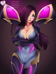 1girl, black hair, bodysuit, breasts, cleavage, facial mark, highres, kai'sa, large breasts, lawzilla, league of legends, long hair, plunging neckline, purple eyes, solo, tagme