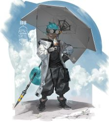 1boy, aqua hair, arknights, baggy pants, black footwear, chameleon tail, dark skin, ethan (arknights), food, frischenq, goggles, goggles on head, hand on hip, holding, ice cream, licking, pants, solo, tail, turtleneck, umbrella