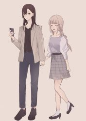 2girls, belt, black belt, black footwear, black nails, black shirt, blue pants, braid, brown background, brown hair, brown jacket, commentary request, grey nails, grey skirt, hair ornament, hairclip, hand holding, high heels, highres, jacket, long hair, long sleeves, multiple girls, nail polish, open clothes, open jacket, original, pants, puffy long sleeves, puffy sleeves, ribbon-trimmed legwear, ribbon trim, shirt, shoes, simple background, skirt, socks, standing, standing on one leg, tsuruse, twin braids, white legwear, white shirt, x hair ornament, yuri