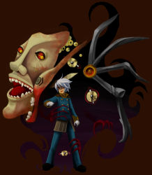 1boy, artist request, bad id, bad pixiv id, bangs, blue coat, blue pants, brown background, buttons, claws, coat, colored sclera, darkness, demon, double-breasted, extra ears, full body, gloves, hair between eyes, kiel-d-01, looking at viewer, male focus, mask, open mouth, pants, ragnarok online, red eyes, red sclera, short hair, simple background, solo, standing, teeth, white gloves, white hair