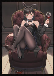 1girl, alcohol, animal ears, armchair, armpit peek, bangs, bare shoulders, black coat, black hair, black legwear, black leotard, black neckwear, blush, bow, bowtie, breasts, breasts apart, bunny ears, chair, closed mouth, coat, collar, collarbone, cup, detached collar, drinking glass, easy chair, eyebrows visible through hair, eyelashes, fake animal ears, fangxiang cuoluan, feet, fingernails, full body, high heels, highleg, highleg leotard, highres, holding, holding cup, indoors, knees up, leotard, light smile, long hair, long sleeves, looking at viewer, medium breasts, nail polish, off-shoulder coat, off shoulder, original, pantyhose, pink nails, playboy bunny, reclining, shiny, shiny hair, shiny skin, shoe removed, shoe soles, shoes, sidelocks, single shoe, sleeve cuffs, soles, solo, stiletto heels, straight hair, strapless, strapless leotard, tailcoat, toes, v-shaped eyebrows, white collar, wine, wine glass, wing collar, yellow eyes