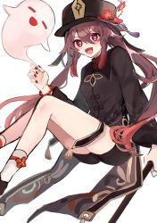 1girl, :d, black headwear, black shirt, black shorts, breasts, brown hair, chinese clothes, collared shirt, flower, genshin impact, ghost, gradient hair, hair between eyes, hat, hat flower, highres, holding, hu tao, jewelry, long hair, long sleeves, looking at viewer, multicolored hair, nail polish, netaiiii, open mouth, plum blossoms, red eyes, red flower, red nails, revision, ring, shirt, short shorts, shorts, simple background, small breasts, smile, socks, solo, star-shaped pupils, star (symbol), symbol-shaped pupils, tailcoat, tassel, thighs, thumb ring, twintails, v-shaped eyebrows, very long hair, white background, white legwear