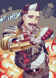 1boy, apex legends, belt, black belt, black jacket, brown belt, brown eyes, brown hair, clenched hand, explosion, explosive, fuse (apex legends), grenade, highres, jacket, looking at viewer, mechanical arms, multicolored hair, nashigawa, one eye covered, open mouth, scar, scar across eye, science fiction, single mechanical arm, skull and crossbones, solo, white hair