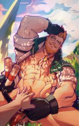 Rule 34 | 2boys, abs, bara, bare pecs, blonde hair, bottomless, collared shirt, cowboy shot, cyrus (genshin impact), facial hair, flaccid, genshin impact, green eyes, groping, hand on own head, highres, holo eden, large pectorals, male focus, male pubic hair, mature male, multiple boys, muscular, muscular male, mustache, naked shirt, navel, navel hair, nipples, open clothes, open shirt, penis, pov, pubic hair, red neckwear, round eyewear, seductive smile, shadow, shirt, short hair, sleeves rolled up, smile, smirk, solo focus, stomach, thick thighs, thighs, uncensored, white shirt, yaoi