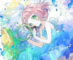 1girl, angel wings, bangs, bare shoulders, blue dress, blunt bangs, blush, bow, character request, dress, feathered wings, flower, green eyes, hair bow, hibi89, holding, holding flower, holding instrument, instrument, looking at viewer, merc storia, off-shoulder dress, off shoulder, petals, short hair, sleeveless, sleeveless dress, solo, white bow, wings