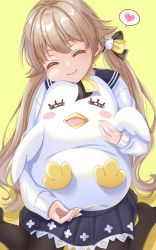 1girl, blue archive, blush, brown hair, commentary request, eyes closed, hair ornament, happy, heart, hifumi (blue archive), highres, long hair, low twintails, object hug, pantyhose, school uniform, smile, solo, spoken heart, stuffed animal, stuffed penguin, stuffed toy, tamagawatoiro, twintails, yellow background